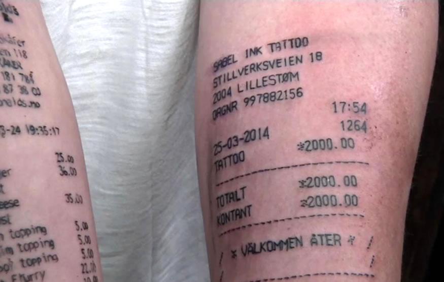 Se tatua el recibo del tatuaje