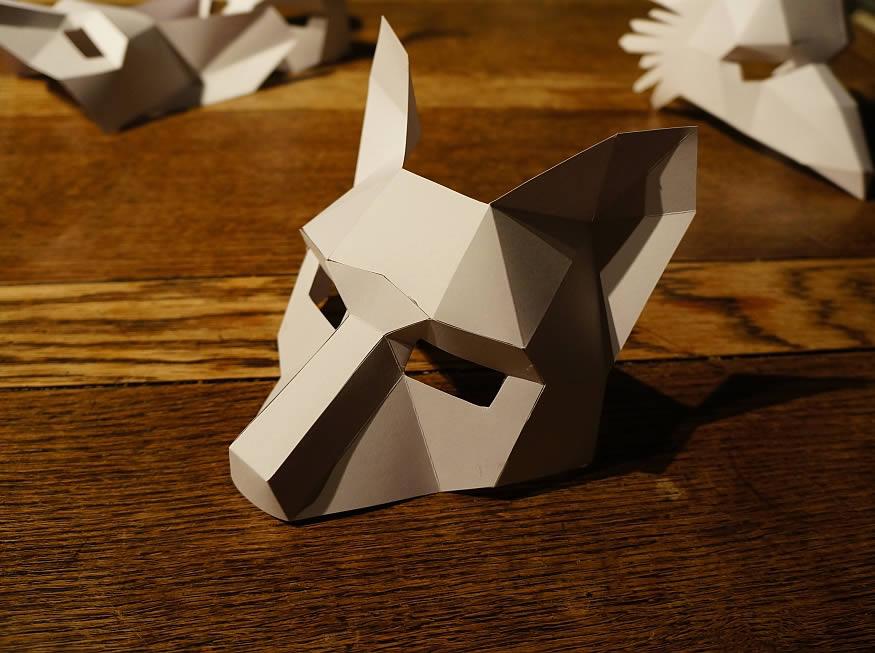 Máscaras geométricas de papel
