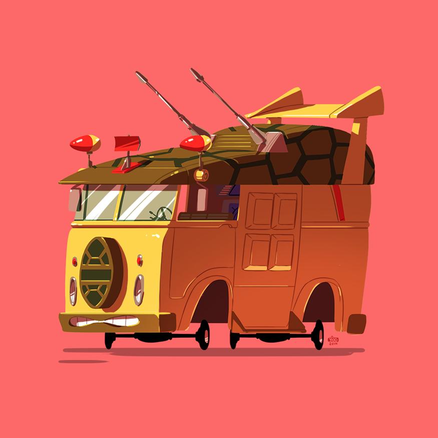 Ilustraciones de vehículos famosos