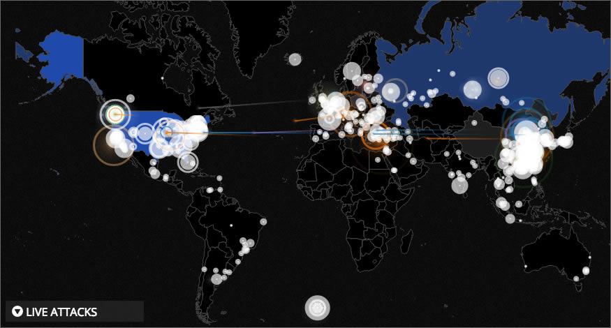 Mapa de ataques cibernéticos