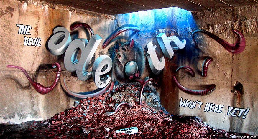Los grafitis anamórficos de Odeith