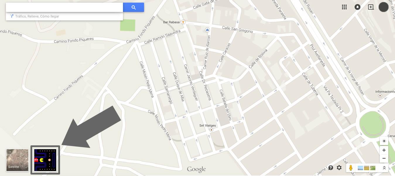 Jugar al pac-man en google maps