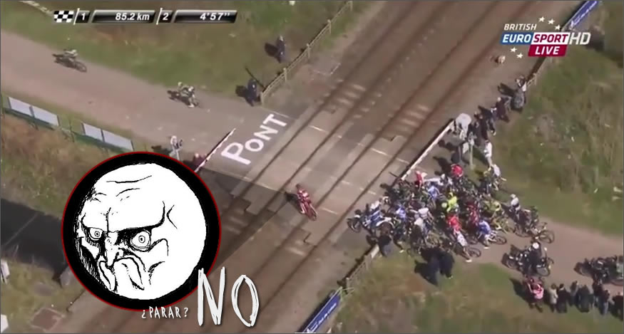 tren parte al pelotón ciclista