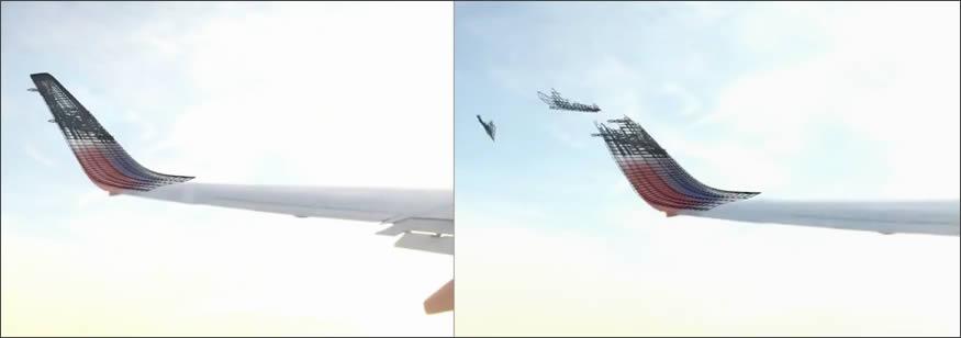 Dron choca con el ala de un avión