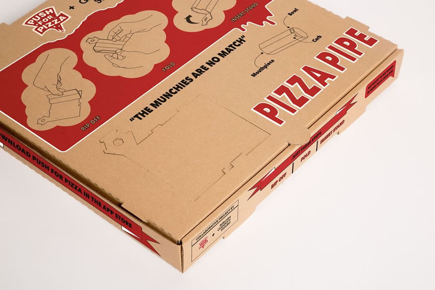 Caja de pizza que se transforma en pipa