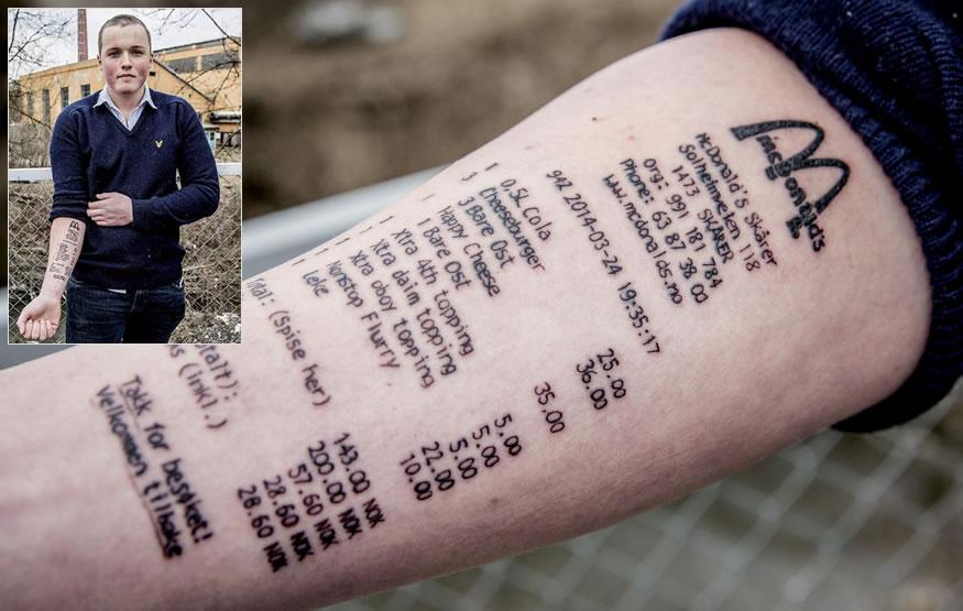 Tattoo del recibo de McDonalds