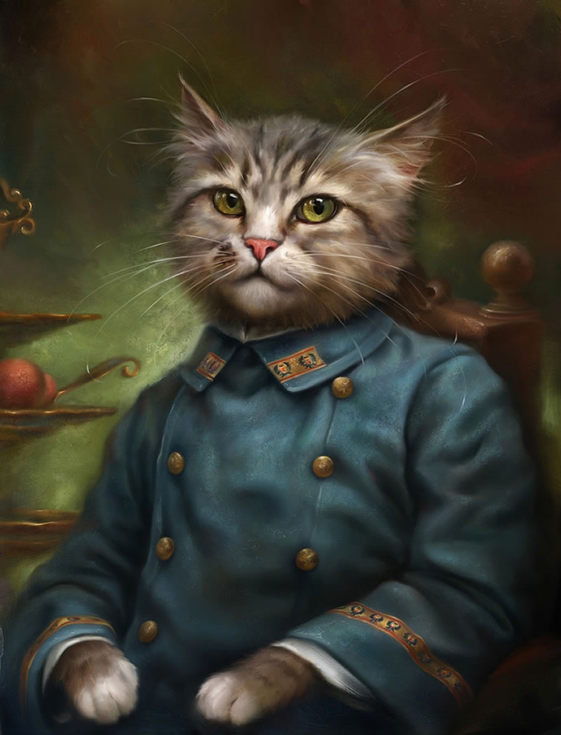 Retratos majestuosos de gatos